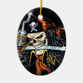 Skull Pirate with Sword and Hook by Al Rio Ceramic Oval Decoration