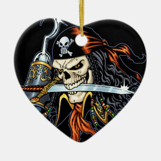 Skull Pirate with Sword and Hook by Al Rio Ceramic Heart Decoration