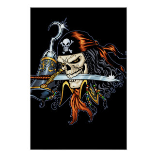 Skull Pirate with Sword and Hook by Al Rio Poster