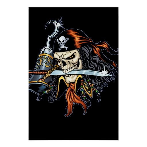 Skull Pirate with Sword and Hook by Al Rio Posters