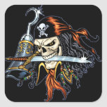 Skull Pirate with Sword and Hook by Al Rio Square Sticker