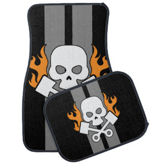 Skull Pistons Flames Grey Race Stripes Car Mat