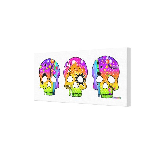 Skull Pop Art (long) Gallery  Wrapped Canvas Canvas Prints