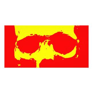 Skull Pop Art - Red Yellow Photo Greeting Card