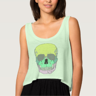 SKULL (POP ART STYLE DESIGN) Flowy Crop Tank Top