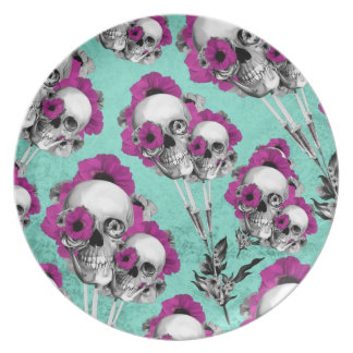 Skull poppies patterned illustration. dinner plate