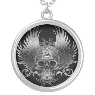 Skull Providence Eye Round Pendant Necklace