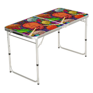 Skull Psychedelic Beer Pong Table