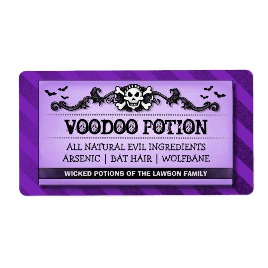 Skull Purple Stripe Custom Drink or Treat Labels