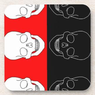 skull red and black beverage coasters