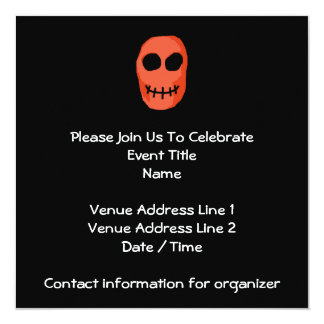 "Skull Red and black. Primitive Style. 5.25"" Square Invitation Card"