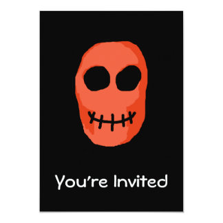 Skull Red and black. Primitive Style. 5x7 Paper Invitation Card
