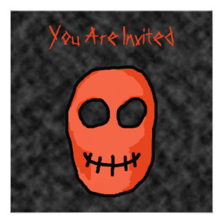 Skull Red and black Primitive Style Personalized Announcement