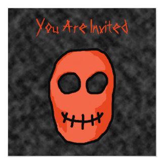 Skull Red and black. Primitive Style. 5.25x5.25 Square Paper Invitation Card