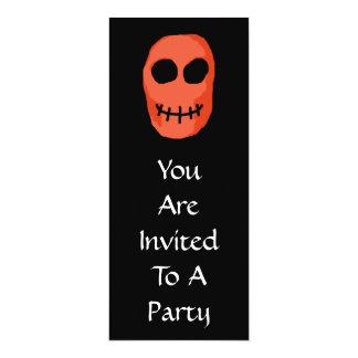 "Skull Red and black. Primitive Style. 4"" X 9.25"" Invitation Card"