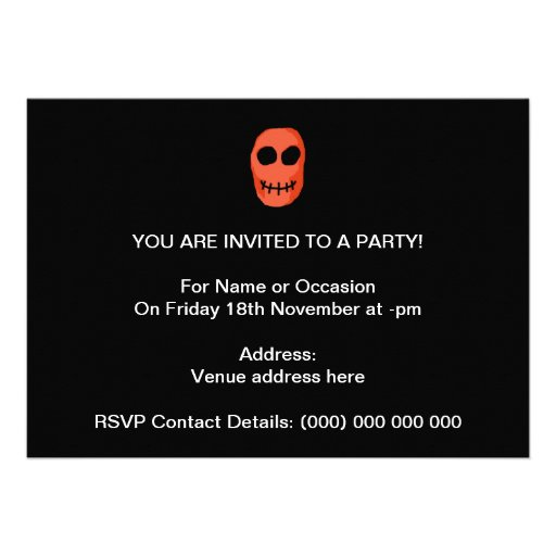 Skull Red and black. Primitive Style. Personalized Invitations