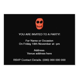 "Skull Red and black. Primitive Style. 5"" X 7"" Invitation Card"