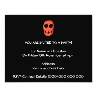 Skull Red and black. Primitive Style. 4.25x5.5 Paper Invitation Card