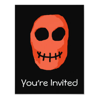 "Skull Red and black. Primitive Style. 4.25"" X 5.5"" Invitation Card"