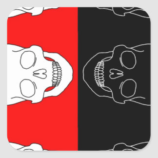 skull red and black square sticker