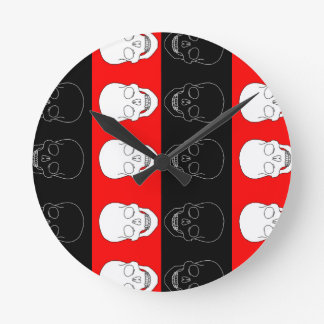 skull red and black wall clock