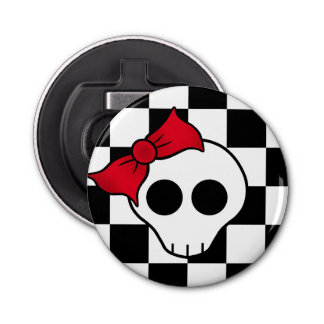 Skull red bow bottle opener
