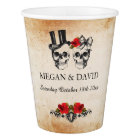 Skull Red Roses Paper Cups Halloween Wedding