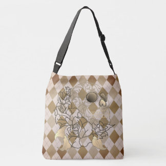 Skull retro argyle print brown yellow shoulder bag