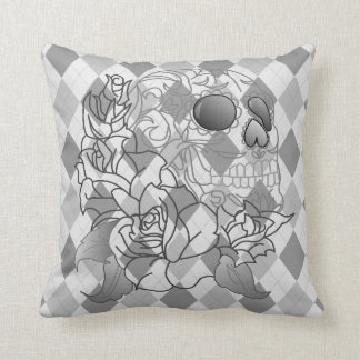 Skull retro argyle print grey white decor pillow