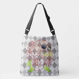 Skull retro argyle print grey yellow shoulder bag