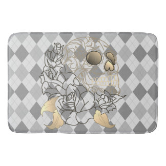 Skull retro argyle yellow grey Bathroom mat