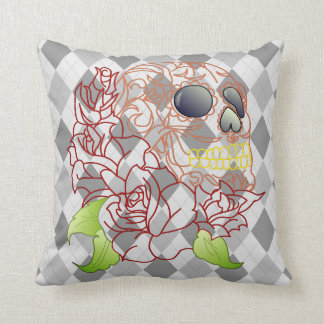 Skull retro argyle yellow grey white decor pillow