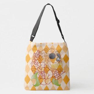 Skull Retro yellow white argyle pretty tote bag