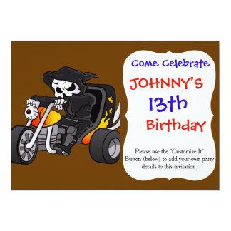 skull ride a big tricycle 13 cm x 18 cm invitation card