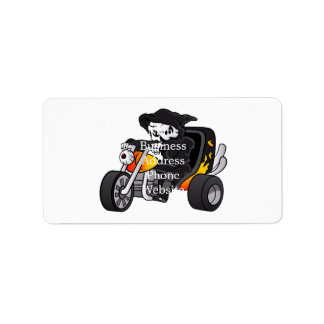 skull ride a big tricycle address label