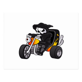skull ride a big tricycle postcard
