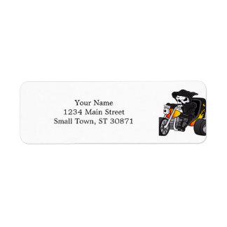 skull ride a big tricycle return address label