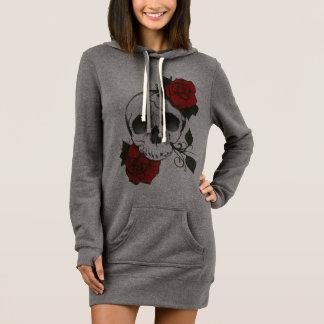 skull rose hoodie dress