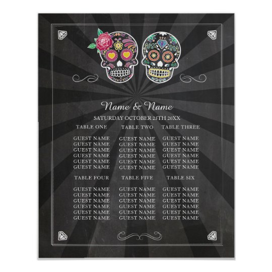 Skull Rose Table Wedding Halloween Poster Seating
