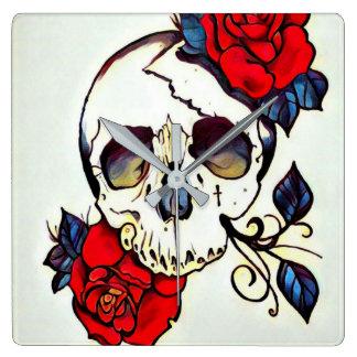 skull rose wall clock