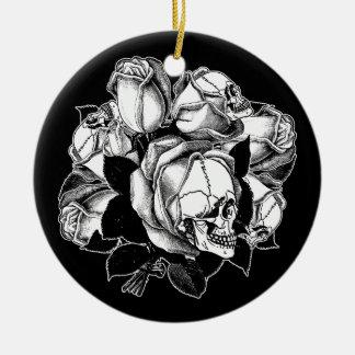 Skull Roses Christmas Ornament