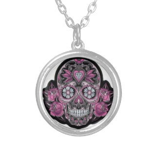 Skull & Roses Purple Silver Plated Round Necklace