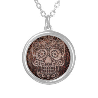 Skull,rusty metal,04 silver plated necklace