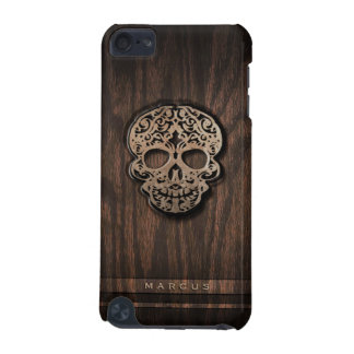 Skull Scroll on Faux Wood Textured Background iPod Touch 5G Covers
