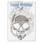 Skull Scuba Diver Happy Birthday Greeting Card