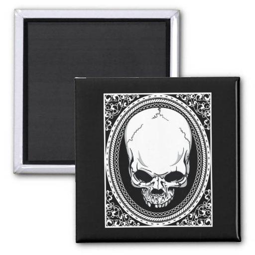 Skull ~ Skeleton Skulls Gothic Black Square Magnet