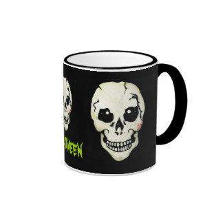 Skull Skeleton Trio Green Halloween Coffee Mug