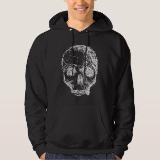 Skull Sketch. White. Hoodie