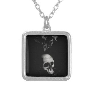 Skull Smoke Vape Square Pendant Necklace
