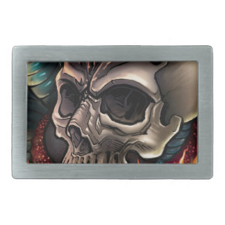 Skull + Snake Rectangular Belt Buckle